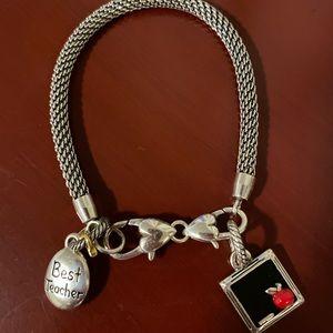 Brighton teacher charm apple bracelet new!